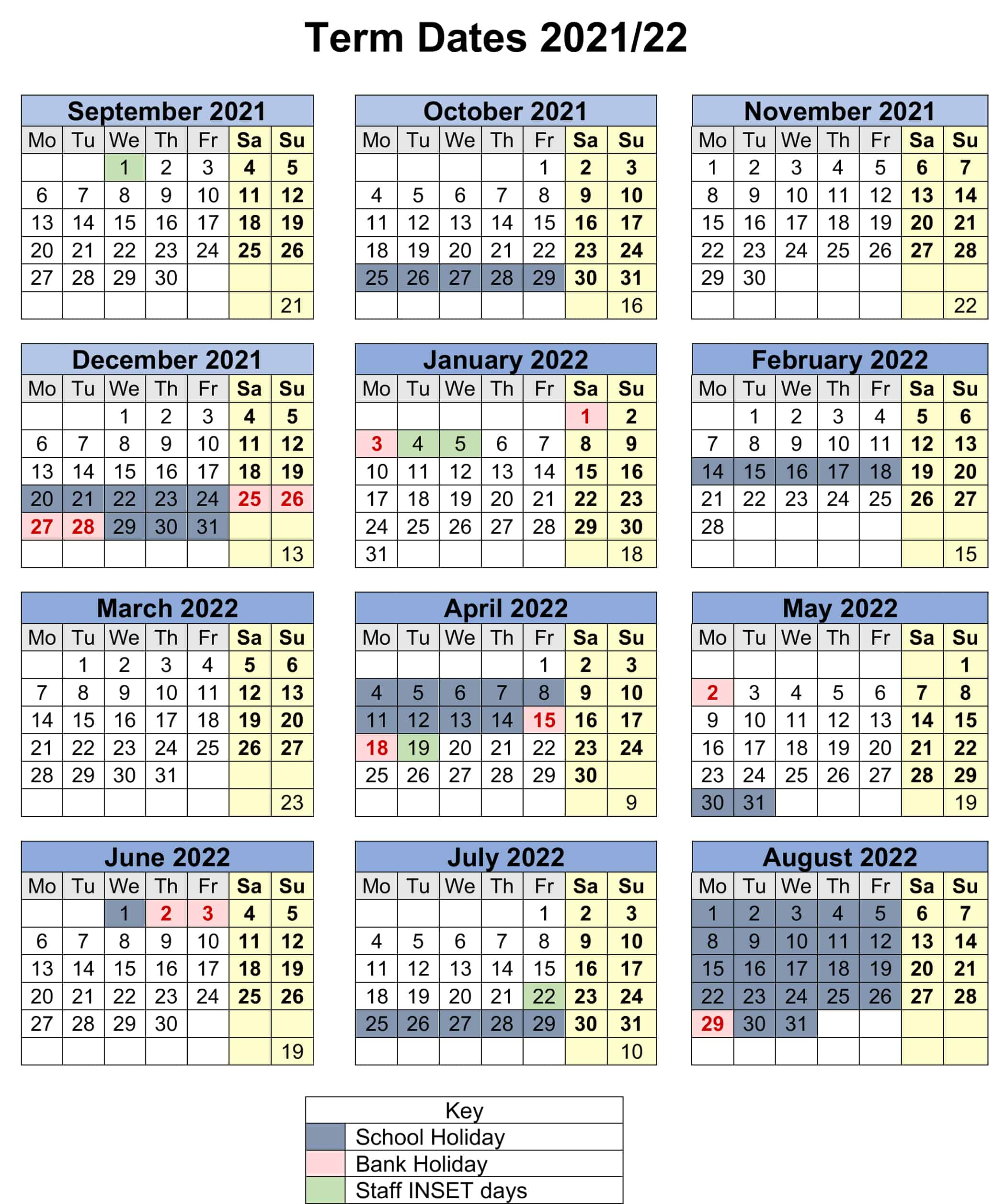 Term dates calendar for The Cavendish school